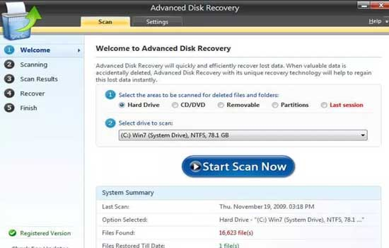 Features of Advanced Disk Recovery